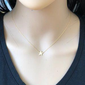 14K Solid Gold Mini Star Adjust Dainty Necklace
